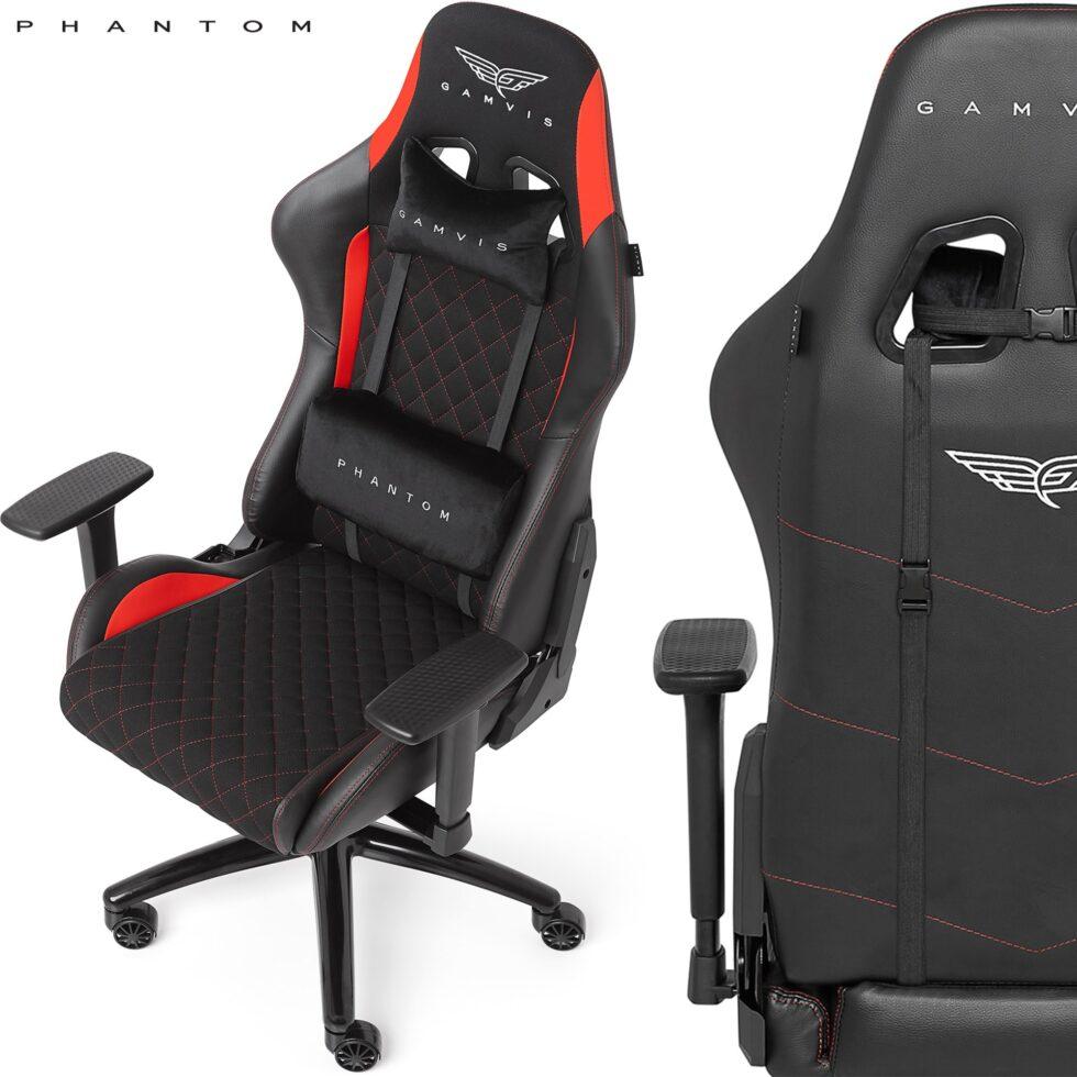 Materiałowy Fotel gamingowy Gamvis Phantom Czerwony 32