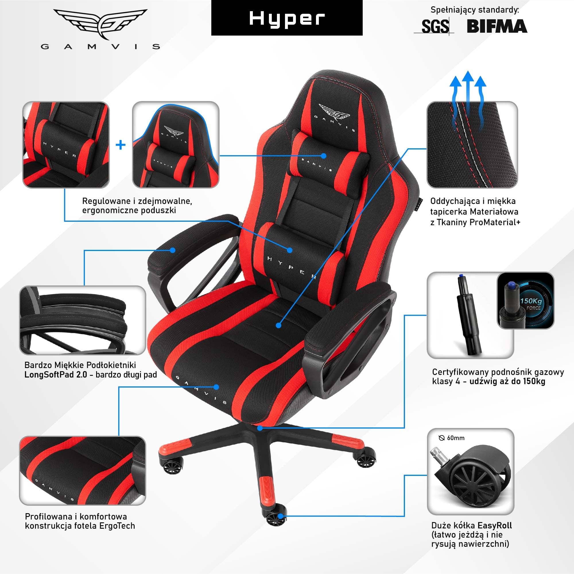 Materiałowy Fotel gamingowy Gamvis HYPER Czerwony
