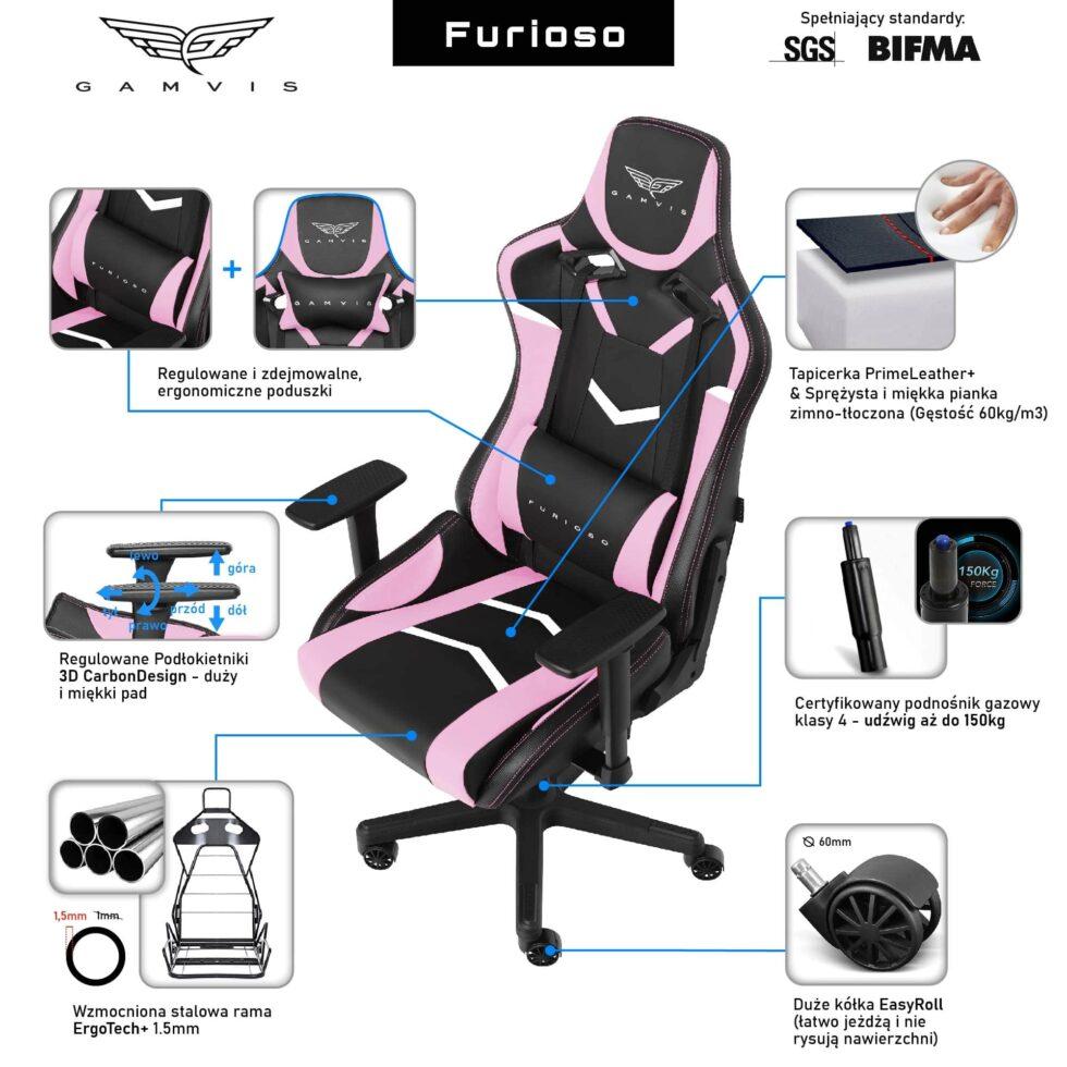 Fotel Gamingowy Gamvis FURIOSO Pink Damski Różowy