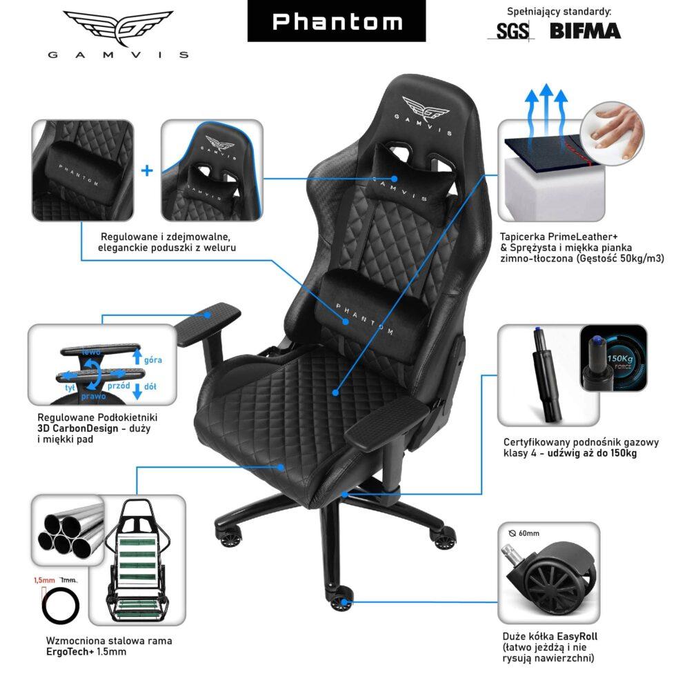 Fotel Gamingowy Gamvis PHANTOM Pikowany Czarny