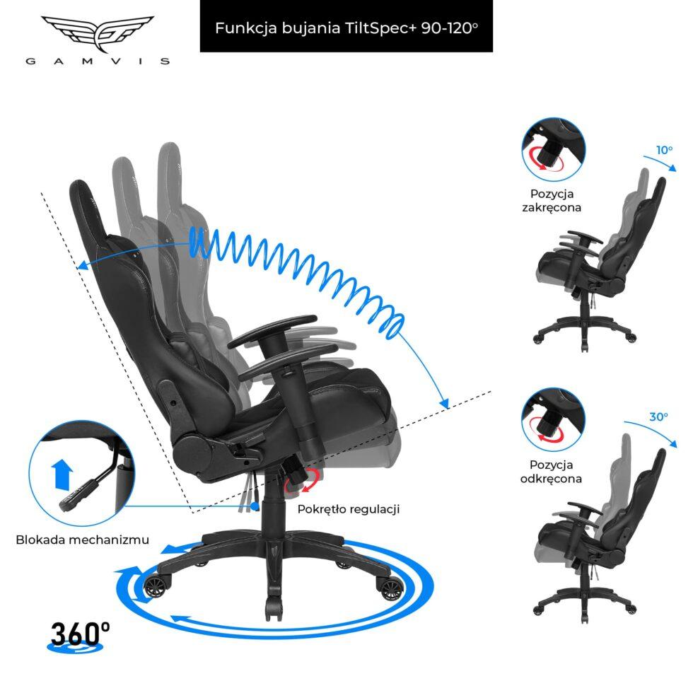 Materiałowy Fotel gamingowy Gamvis Expert Czarny 7
