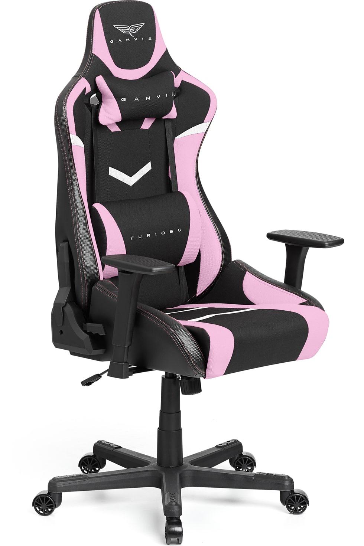 Materiałowy Fotel gamingowy Gamvis Furioso Różowy 16