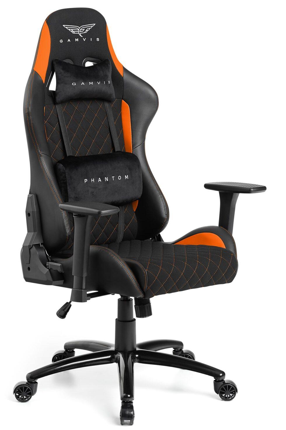 Materiałowy Fotel gamingowy Gamvis Phantom Pomarańczowy 1