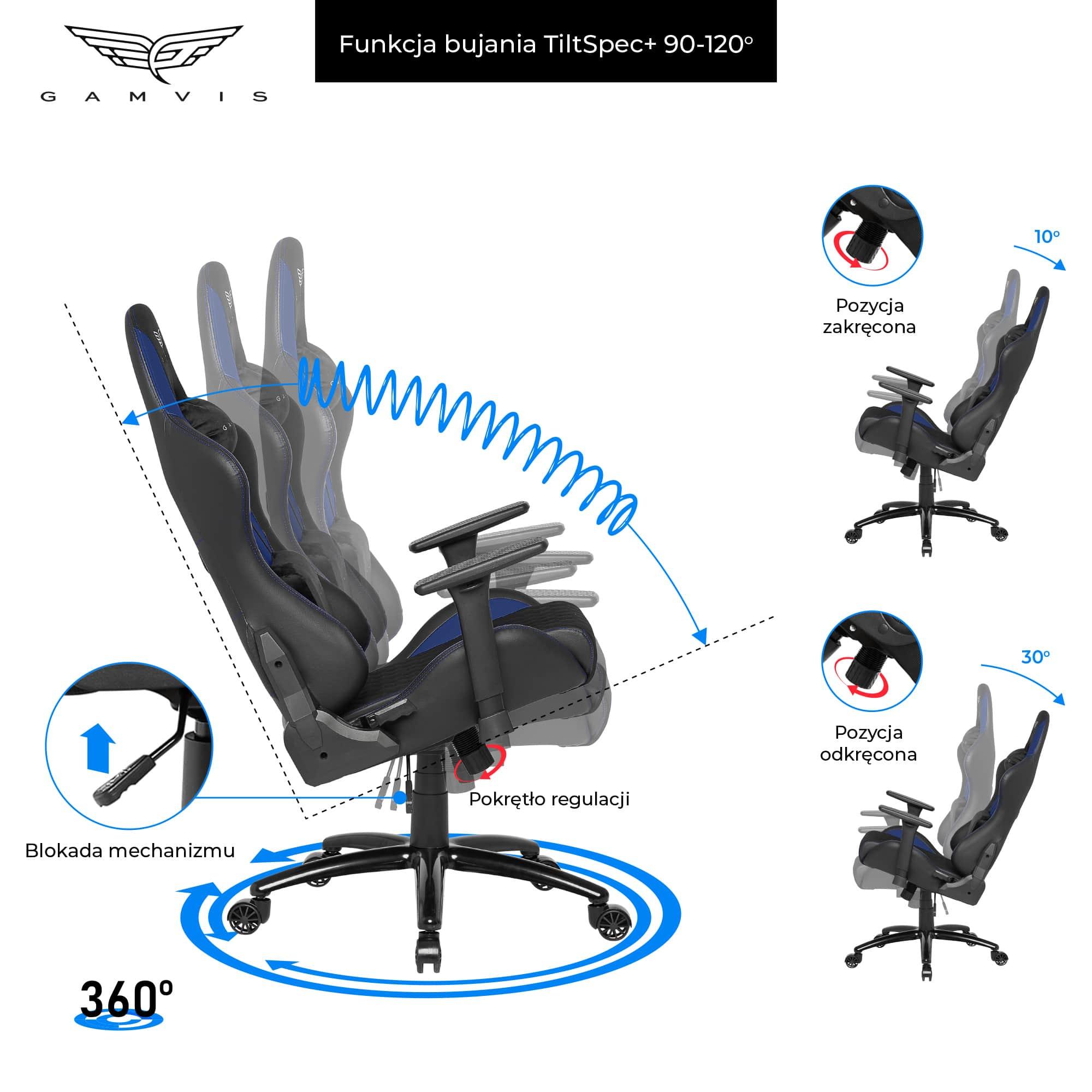 Materiałowy Fotel gamingowy Gamvis Phantom Niebieski 6
