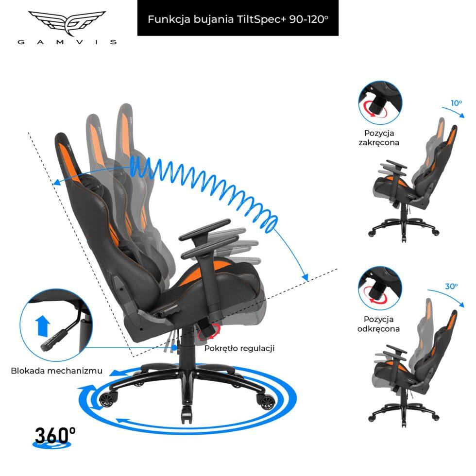 Materiałowy Fotel gamingowy Gamvis Phantom Pomarańczowy 5