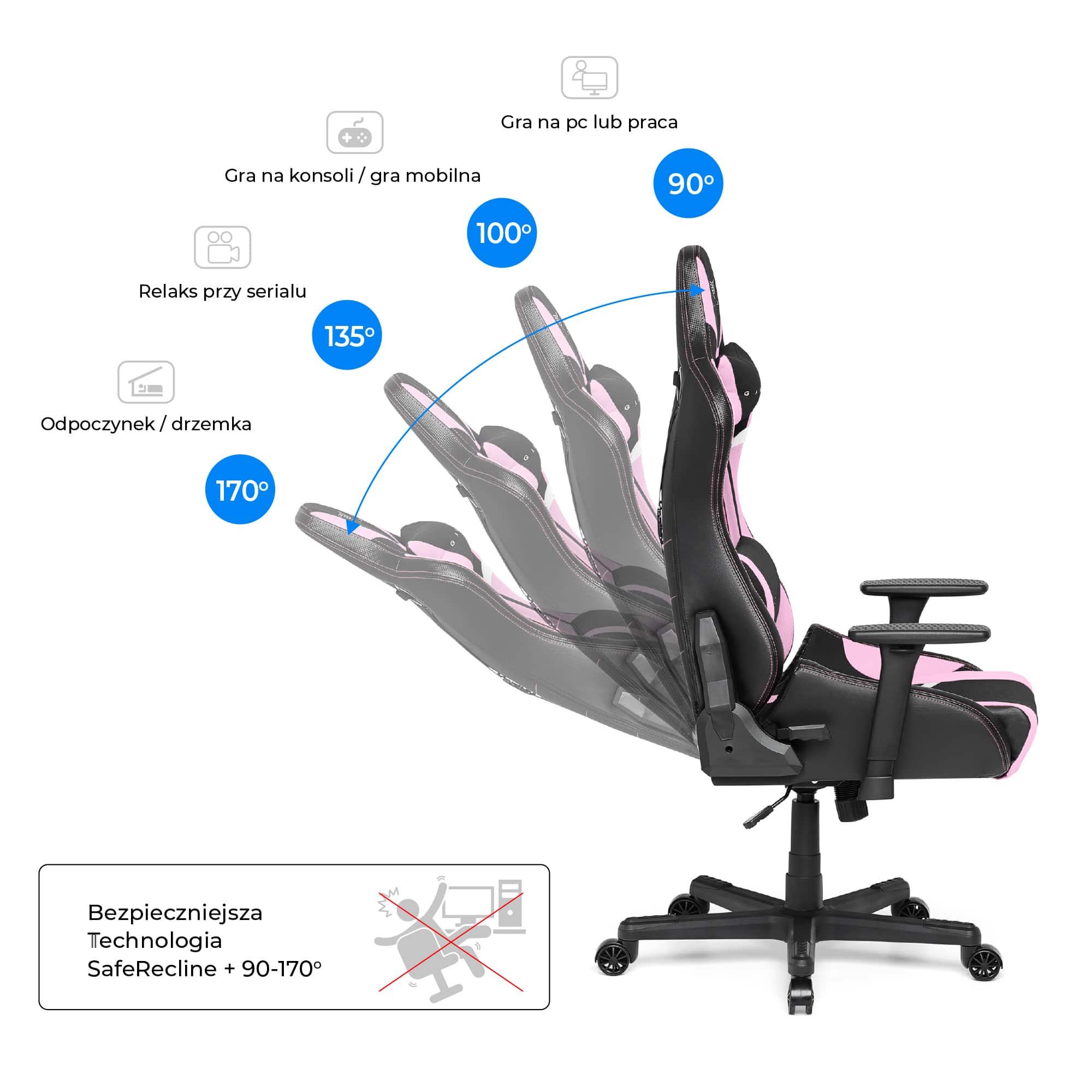 Materiałowy Fotel gamingowy Gamvis Furioso Różowy 6