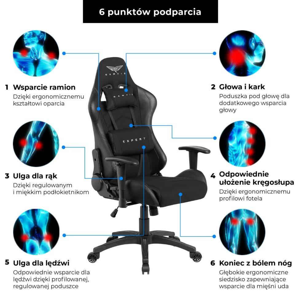 Materiałowy Fotel gamingowy Gamvis Expert Czarny 9