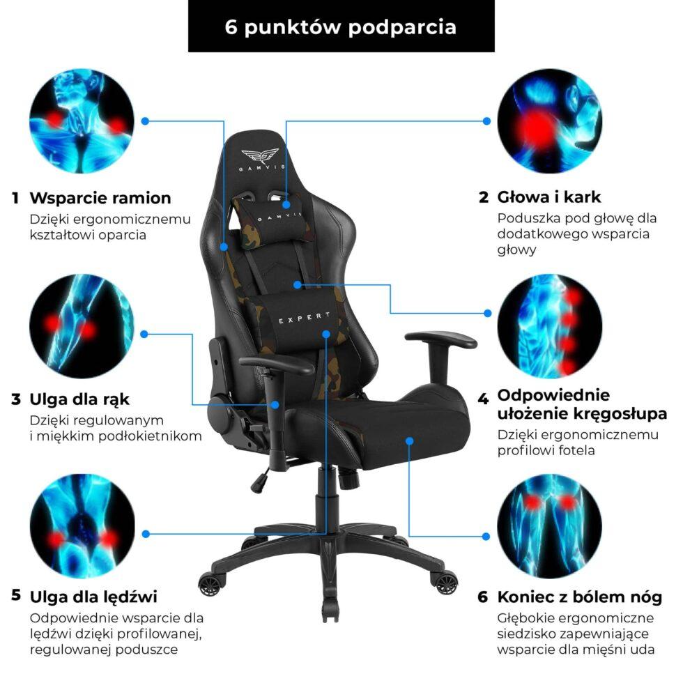 Materiałowy Fotel gamingowy Gamvis Expert Zielony Camo 12