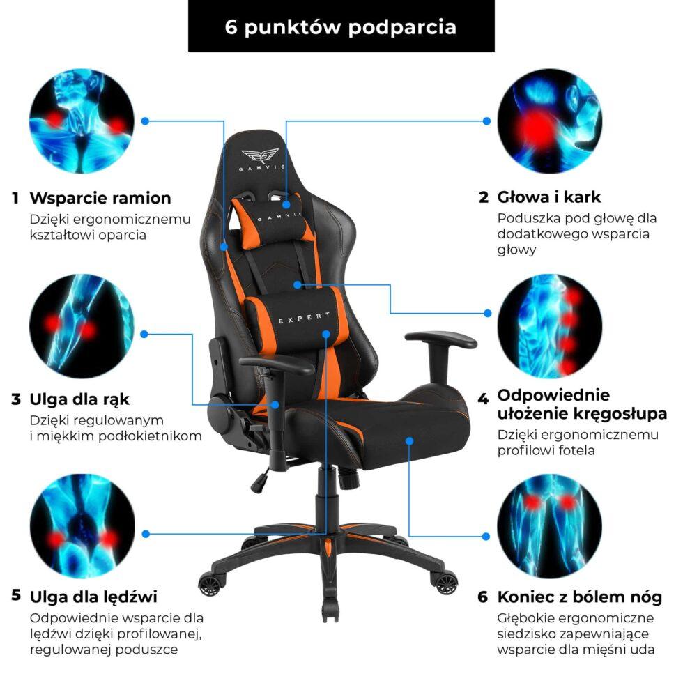 Materiałowy Fotel gamingowy Gamvis Expert Pomarańczowy 8