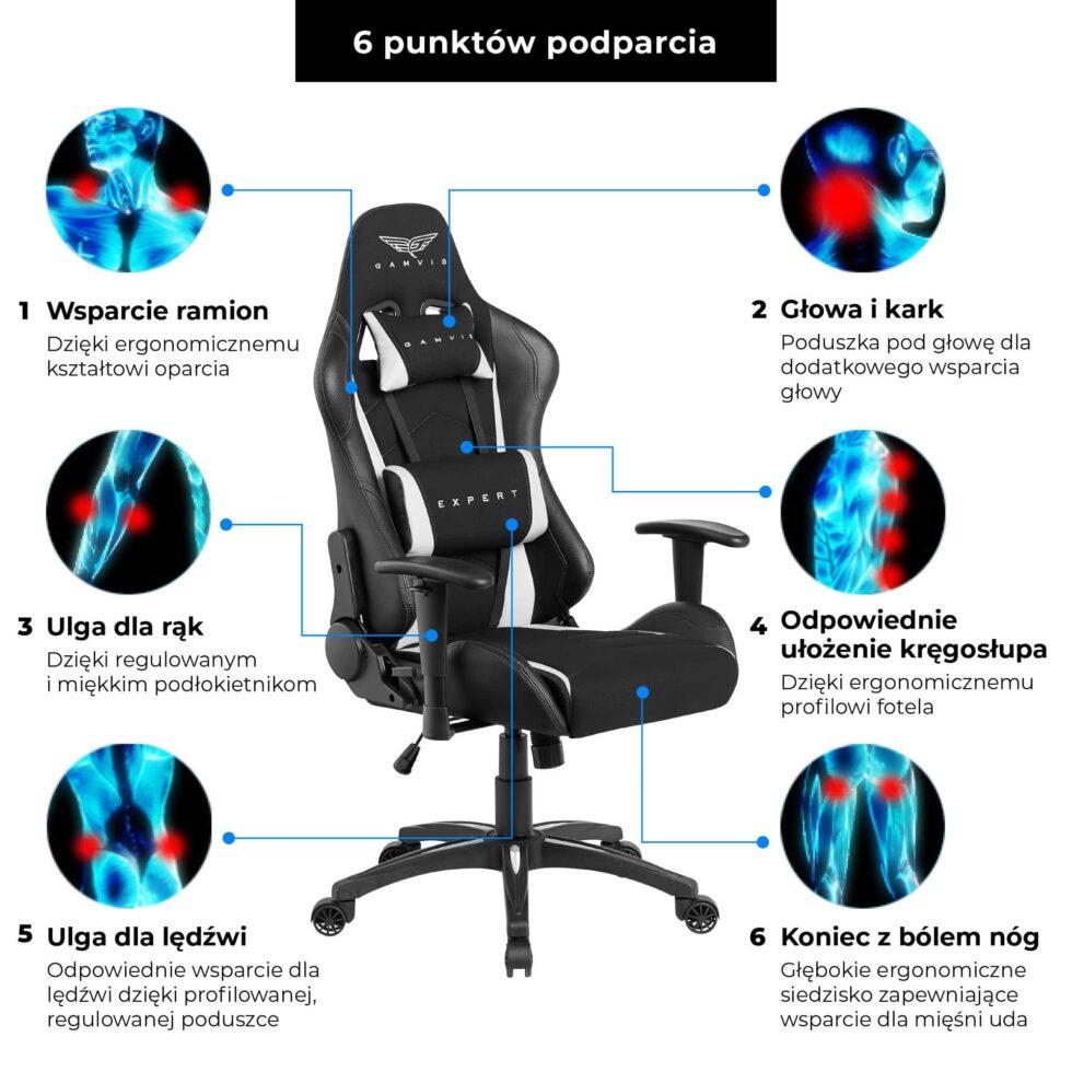 Materiałowy Fotel gamingowy Gamvis Expert Biały 8