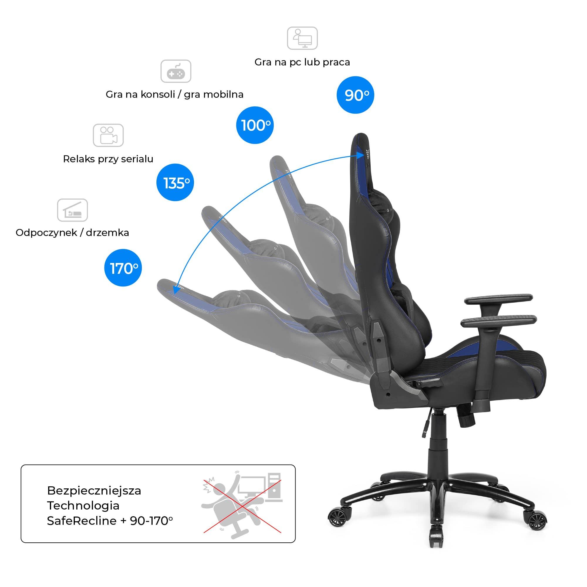 Materiałowy Fotel gamingowy Gamvis Phantom Niebieski 7