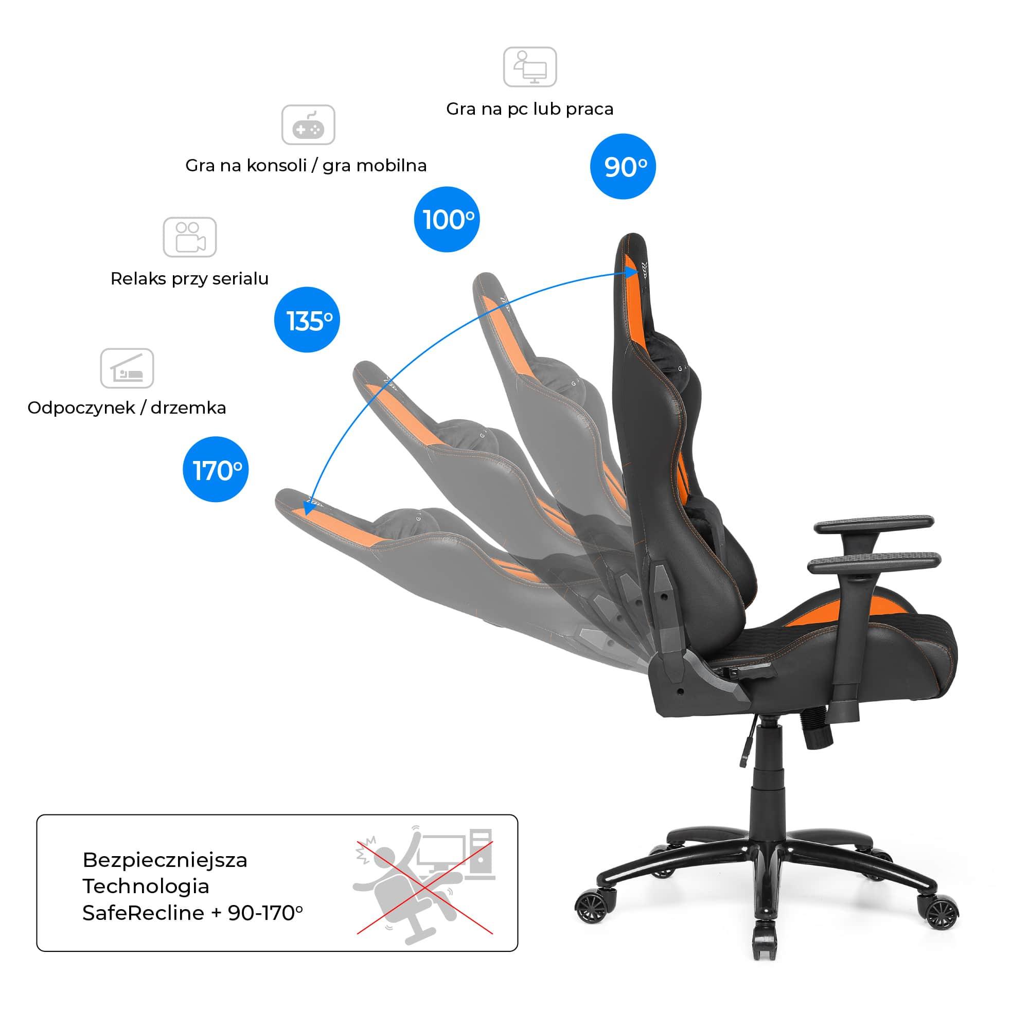 Materiałowy Fotel gamingowy Gamvis Phantom Pomarańczowy 6