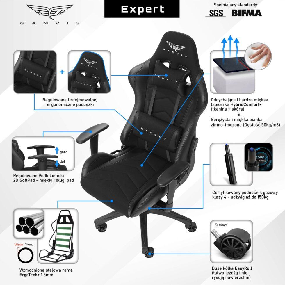 Materiałowy Fotel gamingowy Gamvis Expert Czarny 2
