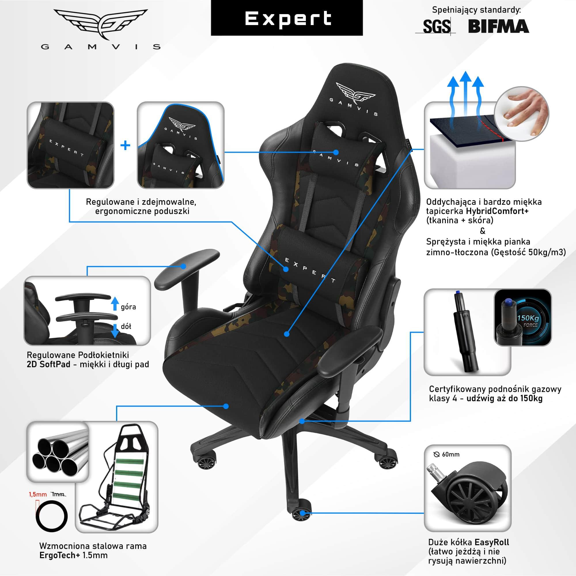 Materiałowy Fotel gamingowy Gamvis Expert Zielony Camo 6