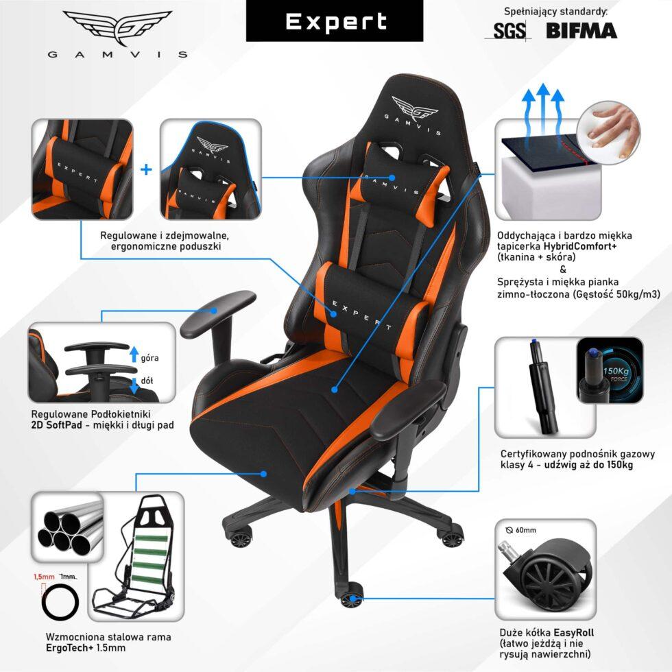 Materiałowy Fotel gamingowy Gamvis Expert Pomarańczowy 2