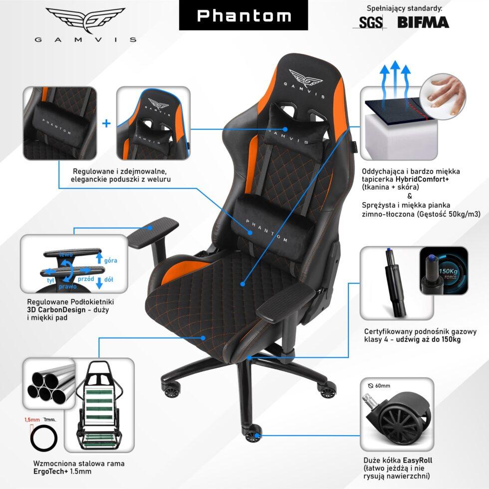 Materiałowy Fotel gamingowy Gamvis Phantom Pomarańczowy 2