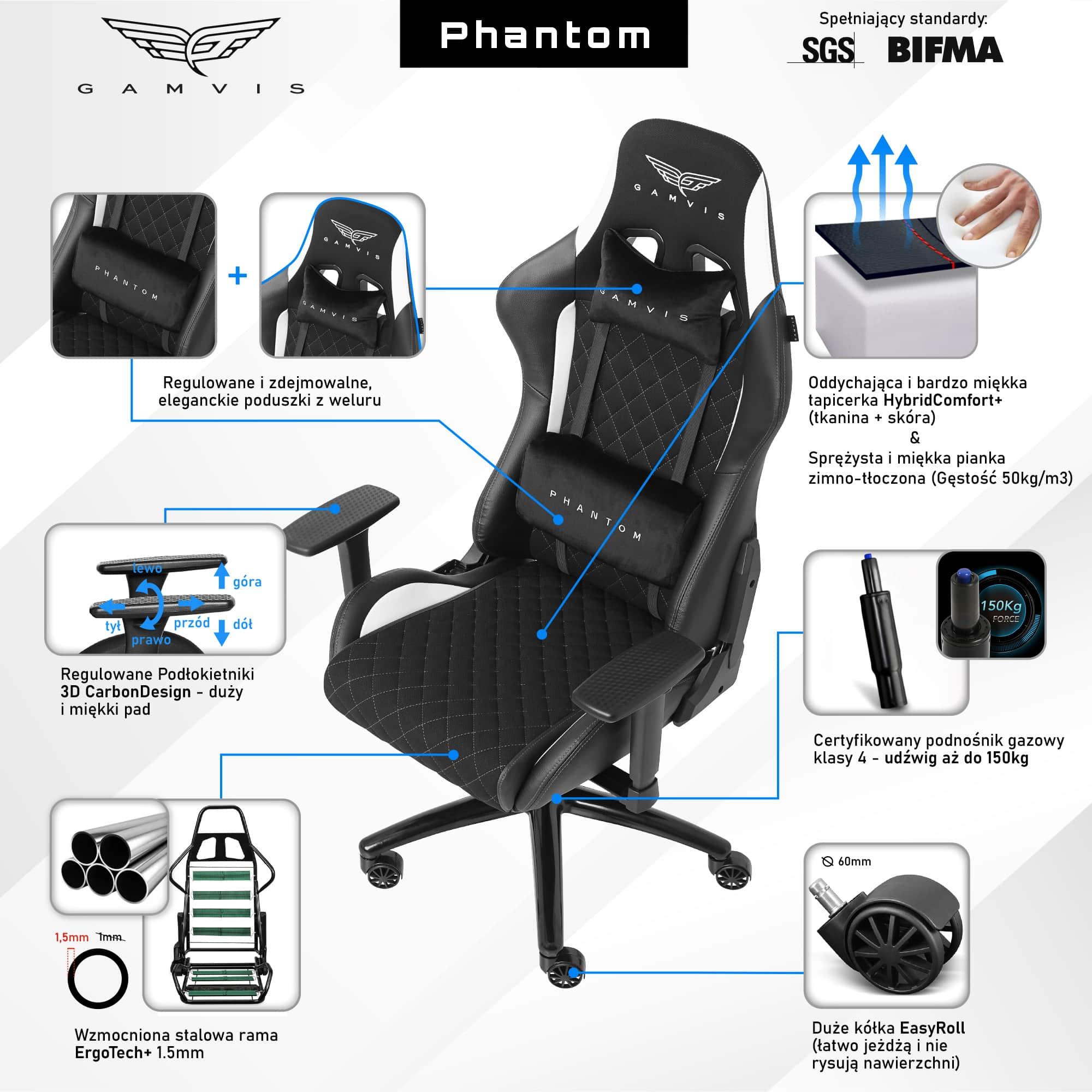 Materiałowy Fotel gamingowy Gamvis Phantom Biały 2