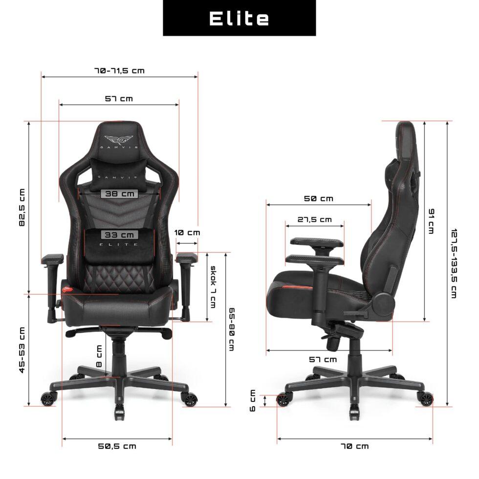 Fotel gamingowy Gamvis Elite 2.0 XL Pikowany Czarny Villa Red