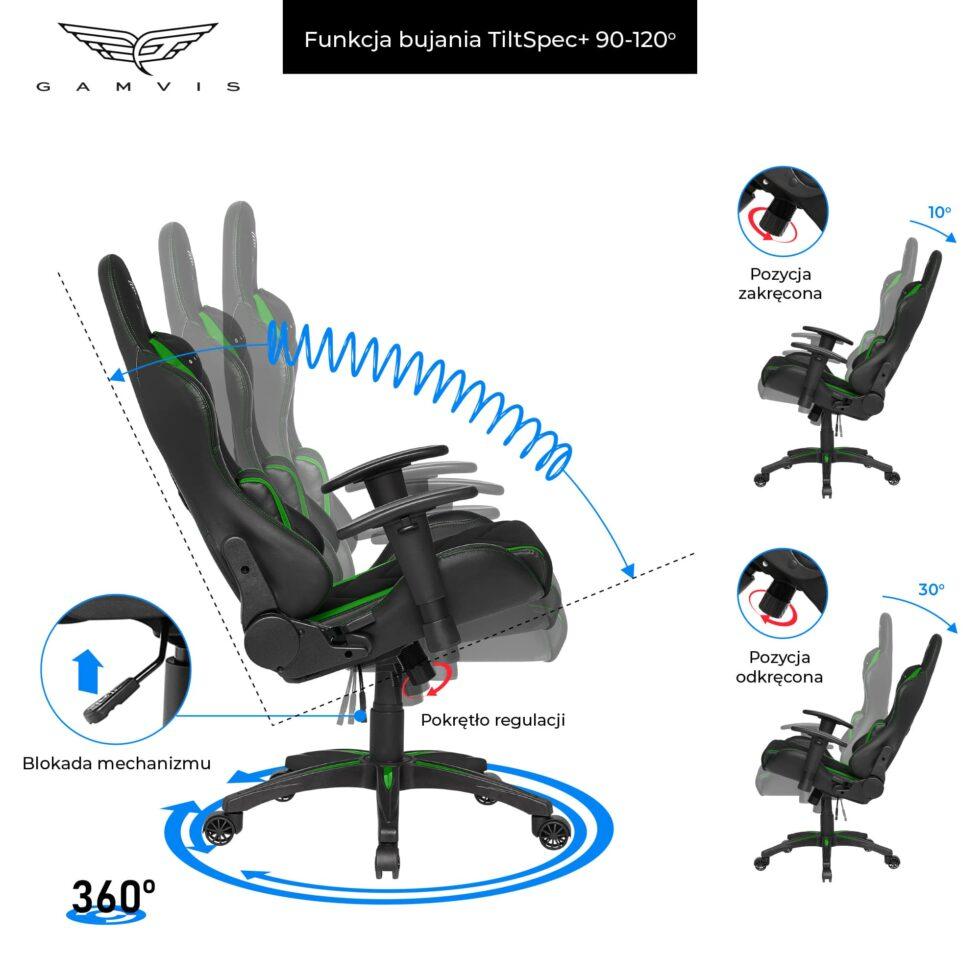 Materiałowy Fotel gamingowy Gamvis Expert zielony 5
