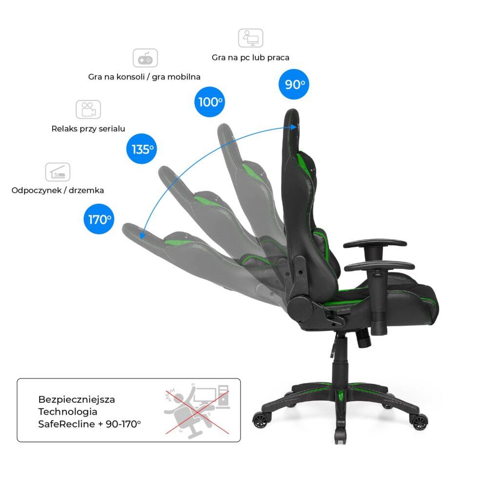Materiałowy Fotel gamingowy Gamvis Expert zielony 6