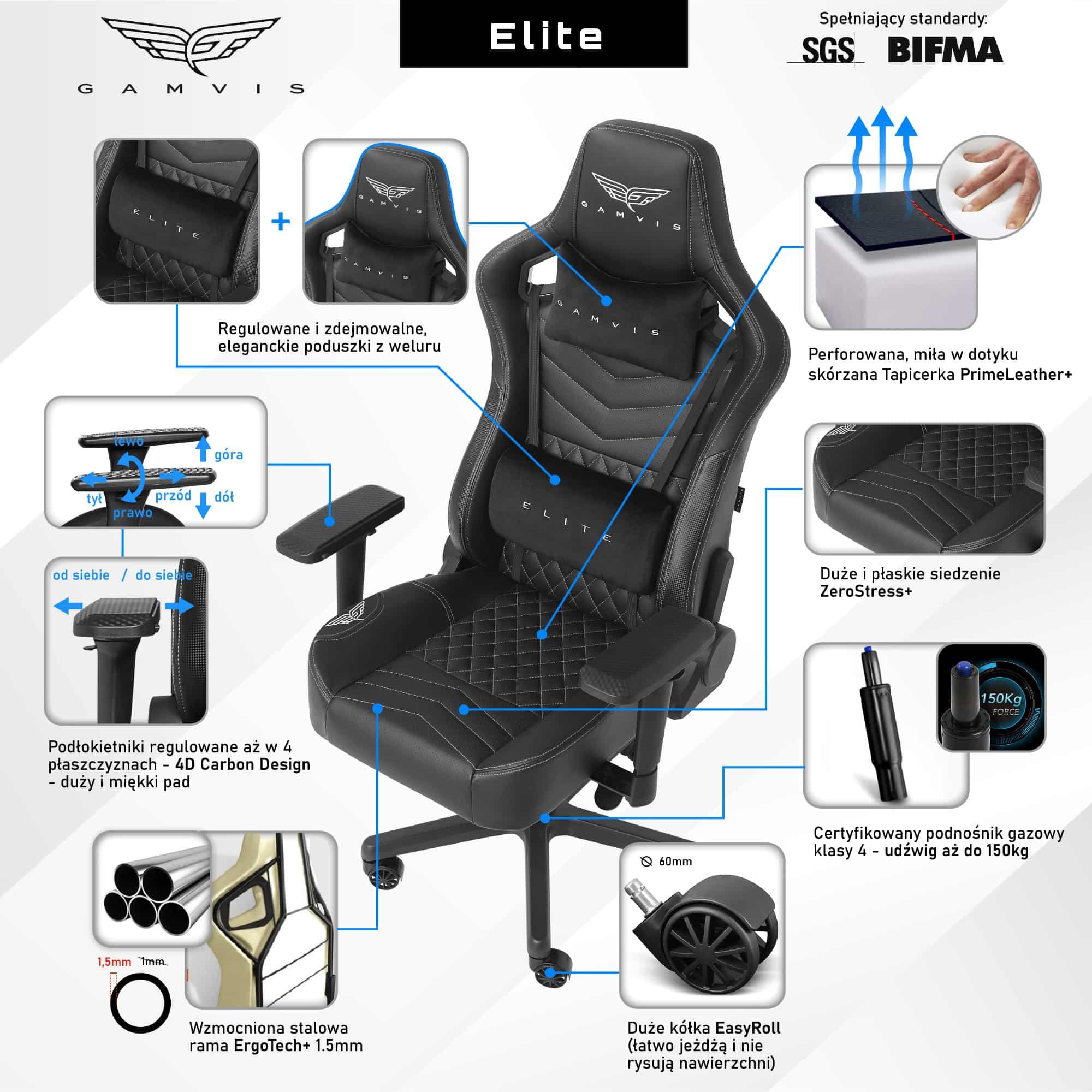 Fotel Gamingowy Gamvis ELITE 2.0 Czarny Pikowany XL